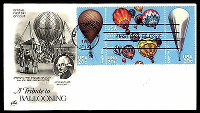 Mayfairstamps US FDC 1983 TRIBUTE TO BALLOONING BLOCK ARTCRAFT 20 UNADDRESSED UN