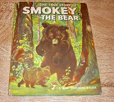 Vintage 1966 Children's Book The True Story of Smokey the Bear/A Big Golden Book