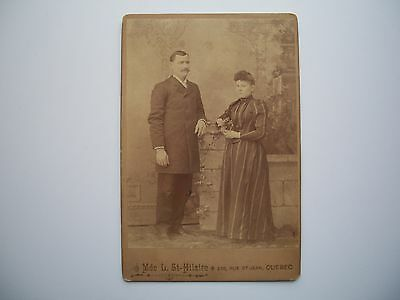 Antique Cabinet Photo by Mde L. St-Hilaire Quebec Canada c-1880 Couple