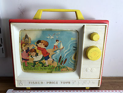 Vintage 1966 Fisher Price Two Tune TV Music Box WORKS London Bridge Row Boat Toy