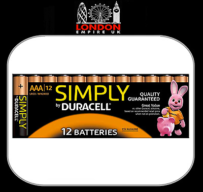 12 x Duracell Alkaline Simply AAA Batteries Long Expiry Date 100% Genuine NEW