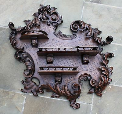 Antique French Oak HAND CARVED Rococo Wall Display Shelf Spindle Gallery 19th C.