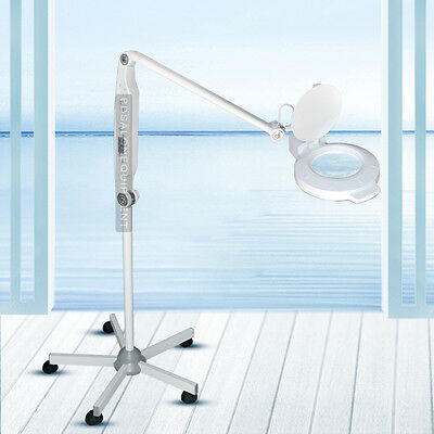 5X Magnifying Lamp Rolling Floor Stand Adjustable LED Facial Therapy Equipment