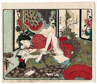 "UTAGAWA KUNISADA  a deluxe Japanese erotic shunga woodblock  ""On the Futon"" 1850"