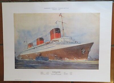 NORMANDIE French Line Colorful Lithograph