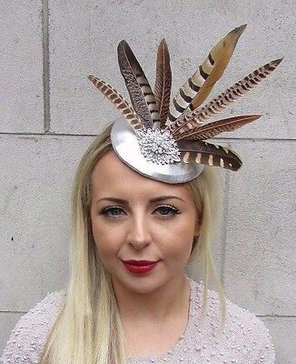 Silver Brown Pheasant Statement Feather Fascinator Pillbox Races Hat Ascot 3176
