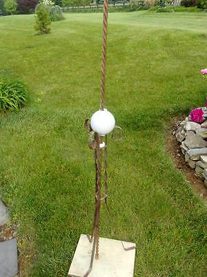 Vintage Large Barn Copper/steel Lightning Rod With White Glass Ball