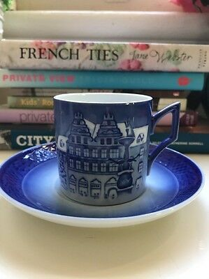 Royal Copenhagen Blue White Christmas Duo Cup and Saucer Set 2009