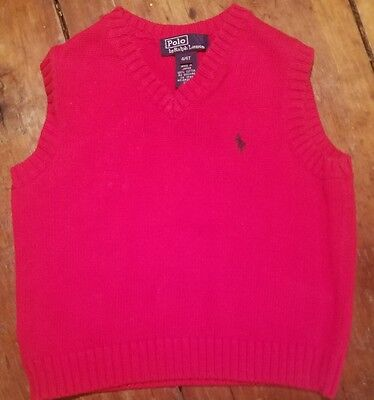 Boy's Polo  Ralph Lauren Sweater Vest Size 4/4T Red