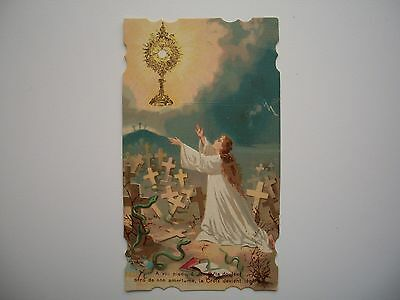 Antique Holy Card Eucharistic Salvation with Monstrance / Cross