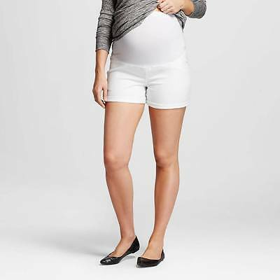 LIZ LANGE Maternity White Denim Shorts Over the Belly Size XL NWOT