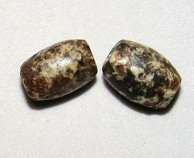 2 Ancient Neolithic Granite Beads NICE