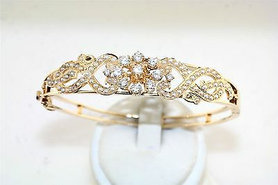 Antique Seed Pearl & White Sapphire 14k Yellow Gold Bangle Bracelet