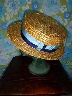 vintage boater natural straw OLNEY HEADWEAR navy & blue grosgrain ribbon 61cm