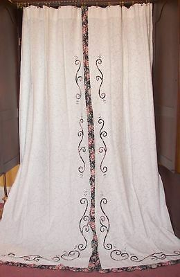 VINTAGE VICTORIAN CHIC FRENCH White COUNTRY COTTAGE ROSES FLORAL DRAPES CURTAINS