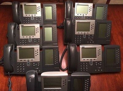 Lot of Seven (7) Cisco IP Phone 7960 With 7914 Expansion Modules VOIP 20 Lines