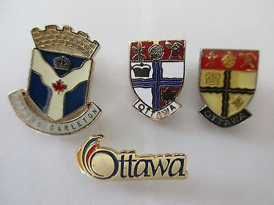 Lot of 4 City of Ottawa Canada Lapel Pins Armoiries - Pinback Epinglette