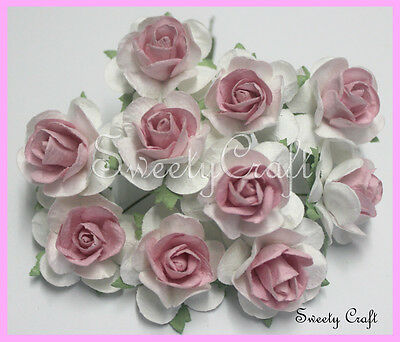10 White - Pink Mulberry Paper Rose Flower handmade size 2.5 cm. card SW022