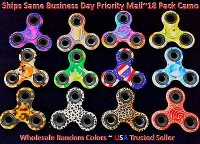 18 Fidget Hand Spinner Camo tri Finger Kids Toy EDC Stress Focus ADHD WHOLESALE