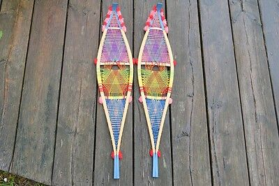 Vintage Miniature / Small Wooden Snowshoes Canadian Indian Made Pom Pom Style