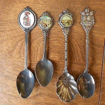 4 Collectible Silver Plate Souvenir Spoons Hummal, Colorado, Amana, British Colu