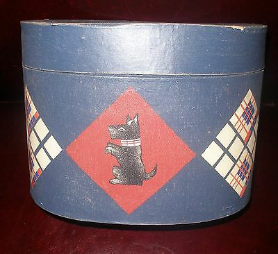 Vintage 1940s Hat Box Oval Hatbox Black Scottish Terrier Scotty Dog Décor 9 x 7""