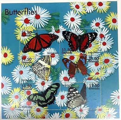 2002 GRENADA BUTTERFLY STAMPS SHEET OF 6 BUTTERFLIES INSECT MOTH FLOWERS blue