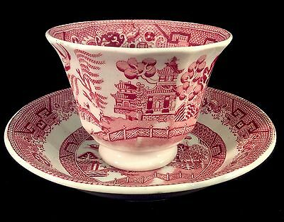 Red Willow Cup And Saucer Set Transferware J Meir 1870 Handleless Ironstone