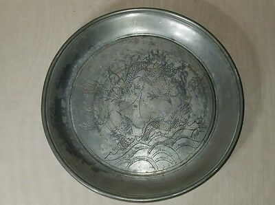 Antique chinese pewter plate with dragons and mark Wah Lee Pewtersmith