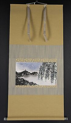 JAPANESE HANGING SCROLL ART Painting Scenery Asian antique  #E5917