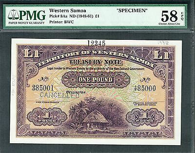 WESTERN SAMOA 1938 £1 ONE POUND P-8as SPECIMEN ABOUT UNC PMG 58 EPQ VERY RARE
