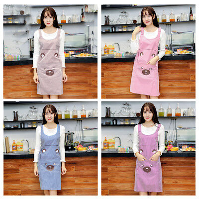 Cartoon Women Kitchen Restaurant Apron Cooking Aprons with Pocket PVC Waterproof