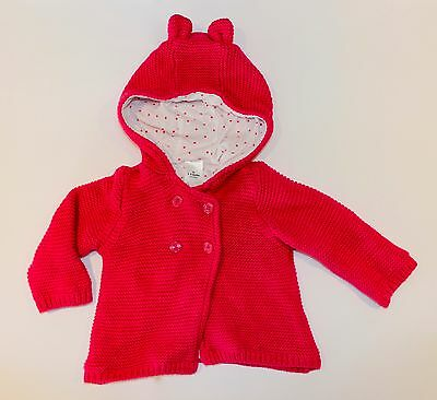 Baby Girls Pink Winter Jacket Size 00 3-6mths Coat Clothing Knitted Hood