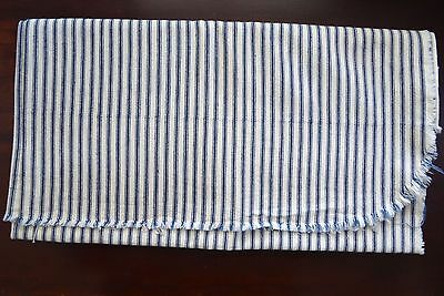 Vintage Classic Blue White Stripe Ticking Fabric 100% Cotton 36 By 78 Inches
