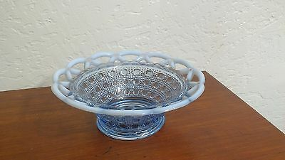Vintage Imperial Glass Opalescent Bowl Dish Katy Blue Lace Edge Cane Pattern