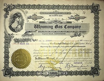 1917 Wyoming Gas Co vintage stock certificate