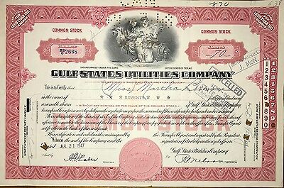 1947 Gulf State Utilities vintage stock certificate