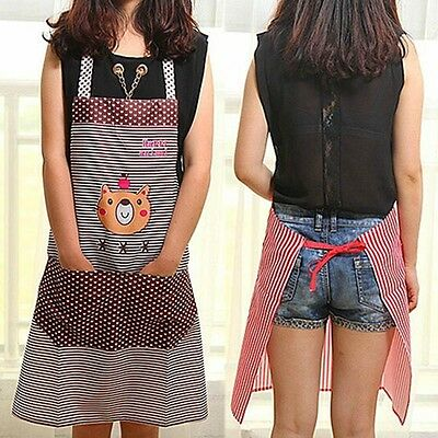 Fashion New Women Bib Kitchen Men Stripe Dot Cartoon Bear Apron