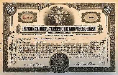 1938 International Telephone and Telegraph vintage stock certificate