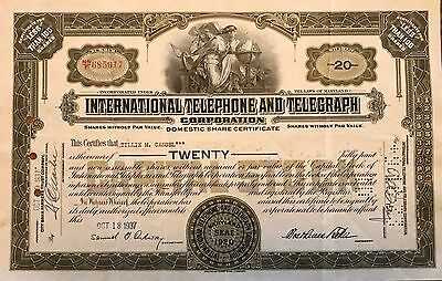 1937 International Telephone and Telegraph vintage stock certificate