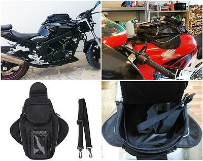 Black Magnetic Motorcycle Tank Bag GPS Phone Holder Case Waterproof Shoulder Bag
