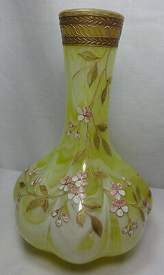 Vintage Antique Loetz Marmoriertes Carnoel Yellow White Art Glass Vase Flowers