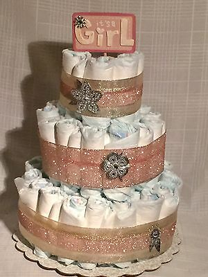3 Tier Diaper Cake Baby Shower Centerpiece Pink/Gold It's A Girl