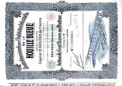 1927 France bond certificate Houille Bleue