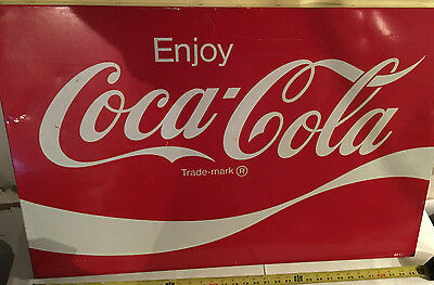 Large Vintage Coca Cola Soda Pop Bottle Gas Station Metal Sign