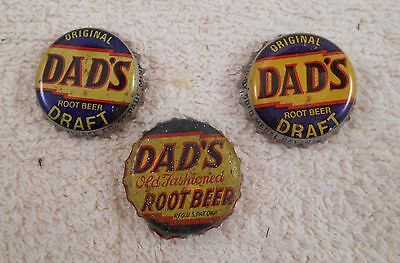 Three Vintage Dad'S Old Fashioned Root Beer Soda Pop Bottle Caps