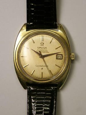 Vintage OMEGA CONSTELLATION 14 Carat GOLD CAP WATCH- 34mm-Auto-Works,1966 Cal561