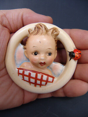 Rare old Hummel 137/A Wall Plaque Ladybug Ring - Child in Bed