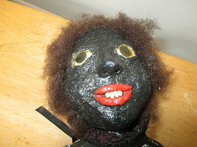 Vintage Folk Art Black Americana Cloth  Doll Scary Eyes Cottage Created 18""