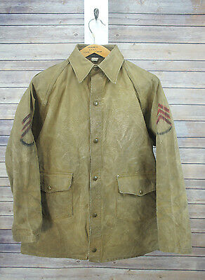 Vintage 30's/40's Hirsch Weis Tin Cloth Work Hunting Jacket Army Symbols 42